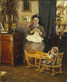 Viggo Pedersen - Interior with a mother doing needlework (the wife of the artist)