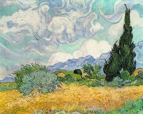 Wheatfield with cypresses 1889