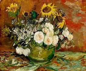 Sunflowers, Roses and other Flowers in a Bowl