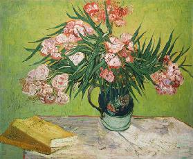 Still life with oleander and books