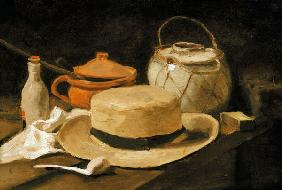 Still life with a yellow straw hat 1885