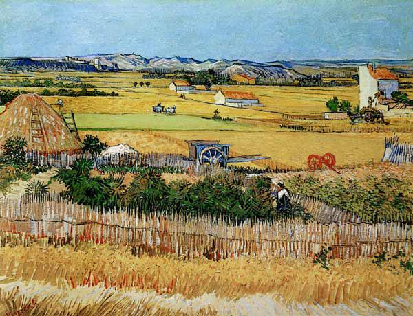 Harvest at La Crau, with Montmajour in the Background 1888
