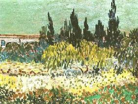 The Garden at Arles, detail of the cypress trees