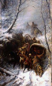 Wilhelm Amandus Beer - Cossacks with horse-drawn sleighs in a narrow pass
