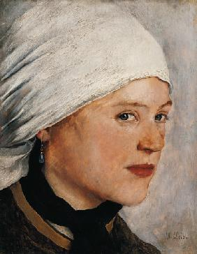 Girl with a white headscarf.