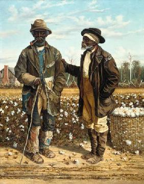 Two old black cotton pickers in the conversation.