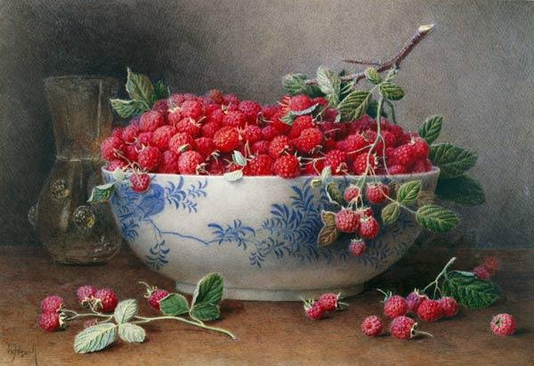 Still Life of Raspberries in a Blue and White Bowl