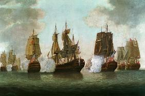 Naval Battle between English and French Ships