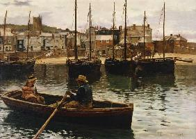 William Henry Bartlett - In the port of piece of Ives, Cornwall