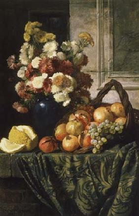 Wladimir D. Sswertschkoff - Still life with flowers and fruits