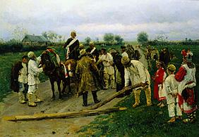 The wedding procession on the village