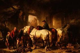 Verschuur, Wouter : Horses Feeding in the Stab...