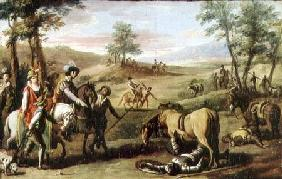 Don Quixote falls from his horse in front of the Dukes (pair of 82436)