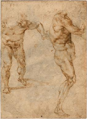 Two Nude Studies of a Man Storming Forward and Another Turning to the Right